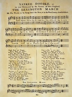 The first publication of 'Yankee Doodle' as sheet music, London, 1775.