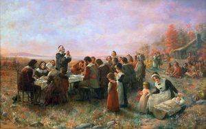 THE FIRST THANKSGIVING At Plymouth, Massachusetts. Oil on canvas, 1914, by Jennie A