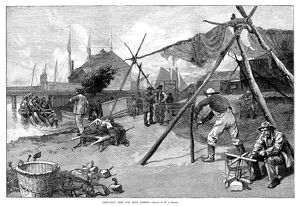 FISHING, 1889. 'Preparing nets for shad fishing.' Engraving after a drawing by W
