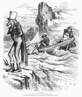 FISHING RIGHTS, 1877. Uncle Sam sulks as Canada and John Bull pull in a big award