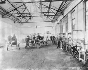 FORD AUTO FACTORY. Testing at Henry Ford's Piquette plant c1905.