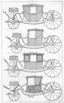 FRANCE: CARRIAGES, c1740. Examples of carriages and coaches in France, c1740. Engraving