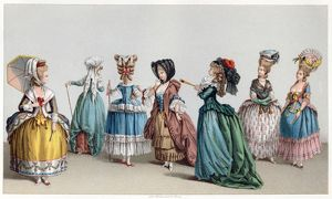 FRANCE: FASHION, c1730. Women's fashions in France, c1730. Chromolithograph, c1875
