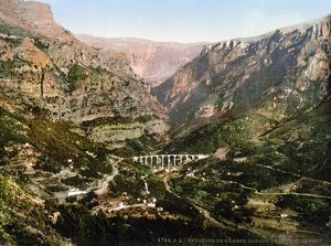 FRANCE: GRASSE, c1895. View of the gorge of the wolf, Gourdon, Grasse, France. Photochrome