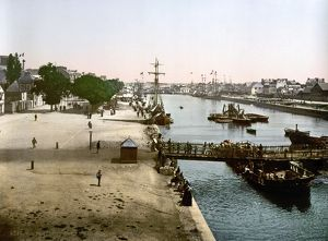 FRANCE: LORIENT, c1895. Merchant harbor in Lorient, France. Photochrome, c1895.