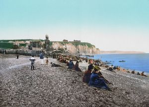 FRANCE: RESORT, c1895. Men and women sitting on the beach at the Casino de la Plage in Dieppe