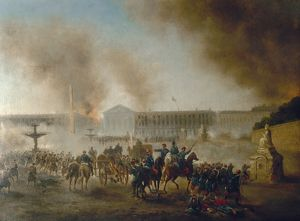 FRANCO-PRUSSIAN WAR, 1870. Arrival of the Versailles troops at the Place de la Concorde, Paris