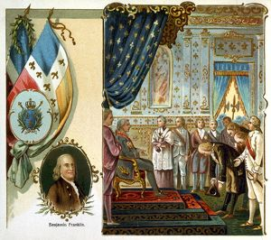 FRANKLIN AT VERSAILLES. Benjamin Franklin's first audience before King Louis