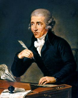 FRANZ JOSEPH HAYDN (1732-1809). Oil on canvas by Ludwig Guttenbrunn.