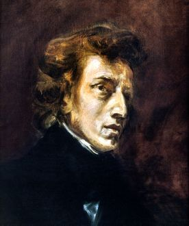 FREDERIC CHOPIN (1810-1849). Polish composer. Oil on canvas, 1838, by Eugene Delacroix.