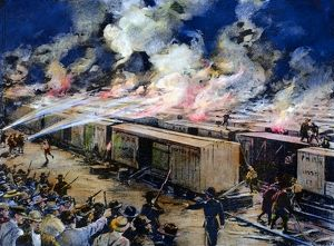 Six hundred freight cars at the Panhandle yards, Chicago, set afire by rioting workers