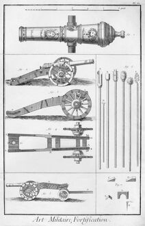 FRENCH CANNONS, c1762. Engraving from 'Recueil de planches, sur les sciences