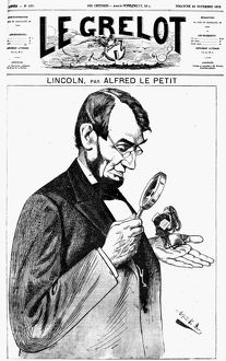 A French cartoon of 1873 depicting President Abraham Lincoln as so much greater than Uncle Sam