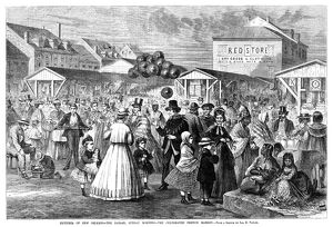 The French Market in New Orleans on a Sunday Morning. Wood engraving, American, 1867.