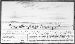 French naval squadron commanded by Comte d'Estaing blocking the British squadron's