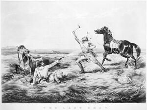 FRONTIERSMAN, 1858. 'The Last Shot'. Lithograph, 1858, by Currier and Ives
