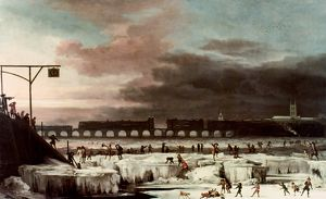 FROZEN THAMES. Oil painting, 1677, by Abraham Hondius.