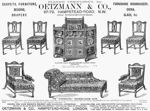 FURNITURE AD, 1884. Advertisement, 1884, from an English newspaper
