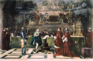 GALILEO GALILEI (1564-1642). Galileo before the Holy Office in 1633. After the painting
