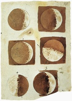 GALILEO: MOON. Sketches by Galileo of the moon as he saw it through the telescope