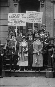 GARMENT WORKER STRIKE. Striking cloak makers picketing in New York City. Photograph