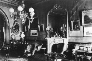 GASLIGHT CHANDELIER, c1866. Parlor at 61 University Place, New York City. Photograph