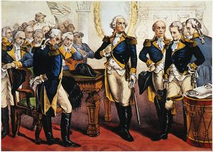 George Washington bids farewell to his generals at Fraunces Tavern in New York City
