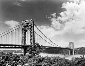 GEORGE WASHINGTON BRIDGE. Looking west toward New Jersey in 1964. Photograph