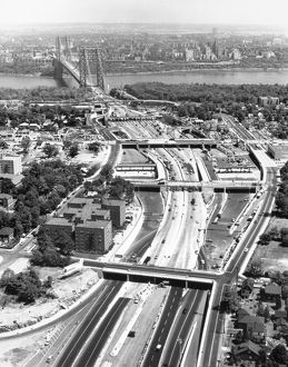 GEORGE WASHINGTON BRIDGE. The New Jersey approaches to the bridge. Photographed c1962.