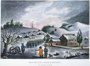 George Washington's headquarters at snowbound Valley Forge, Pennsylvania, during