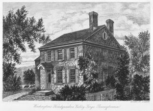 George Washington's headquarters at Valley Forge, Pennsylvania. Etching, 18th century