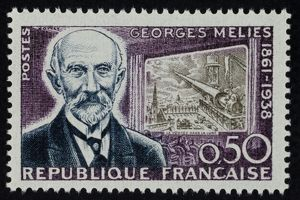 GEORGES MELIES (1861-1938). Depicted on French postage stamp with a scene from his