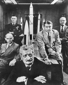 German physicist and rocket scientist. Oberth with officials of the Army Ballistic