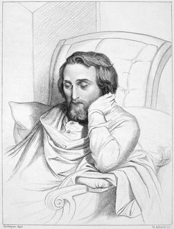 German poet and critic. Heine on his sick-bed. Steel engraving after a drawing, 1852