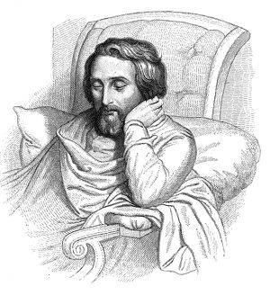 German poet and critic. On his sick-bed. Line engraving after a drawing, 1852, by