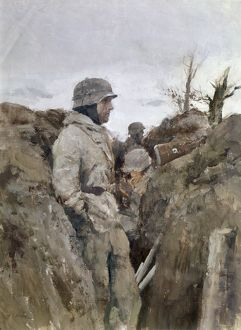 world war ii/german soldier trench eastern world war ii painting a