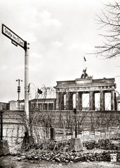 The Brandenburg Gate with barbed wire in the foreground. Photographed c1961.