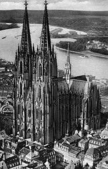 GERMANY: COLOGNE, c1920. Aerial view of the Cologne Cathedral in Cologne, Germany