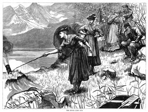 GERMANY: EIBSEE, 1876. Local peasant women shooting a cannon so that tourists can