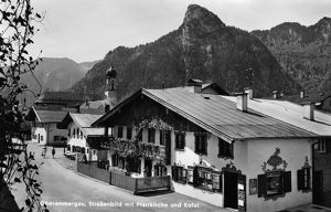 GERMANY: OBERAMMERGAU. Small church in front of Kofel mountain in Oberammergau, Germany