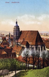 GERMANY: PIRNA, c1920. Stadtkirche St. Marien church in Pirna, Germany. Illustration