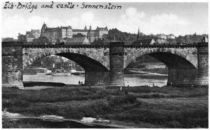 GERMANY: PIRNA, c1920. View of the Sonnenstein Castle and Eble River in Pirna, Germany