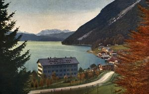 GERMANY: URFELD, c1920. The Jager am See Hotel and Walchensee Lake at Urfeld, Germany
