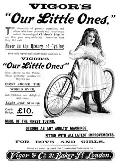 GIRL'S BICYCLE, 1897. Advertisement from an English newspaper of 1897, for boys&#39