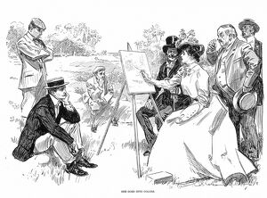 'She Goes Into Colors.' Pen and ink drawing by Charles Dana Gibson, 1901.