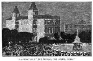 GOLDEN JUBILEE, 1887. Illumination of the General Post Office in Bombay, India