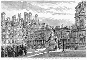 GOLDEN JUBILEE, 1887. Princess Christian unveiling a statue of her mother, Queen Victoria