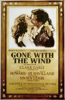 GONE WITH THE WIND, 1939. American poster, 1939, featuring Vivien Leigh and Clark Gable