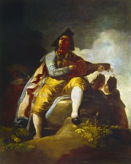 GOYA: GUITARIST. 'El Majo de la Guitarra.' Oil on canvas, 1786, by Francisco Goya.