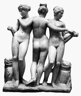 THREE GRACES. Marble, 3rd century B.C. from the ruins of Cyrene, a Greek colony in Cyrenaica
